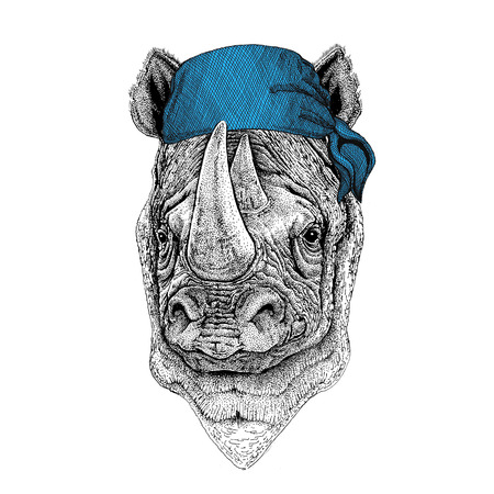 Rhinoceros, rhino Wild animal wearing bandana or kerchief or bandanna Image for Pirate Seaman Sailor Biker Motorcycle
