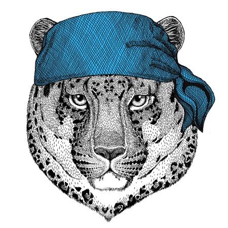野生の猫ヒョウ猫 o 山豹野生動物海賊船乗り船乗りバイカー バイクの身に着けているバンダナやハンカチまたはバンダナ イメージ 写真素材