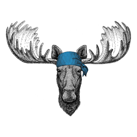 Moose, elk Wild animal wearing bandana or kerchief or bandanna Image for Pirate Seaman Sailor Biker Motorcycle