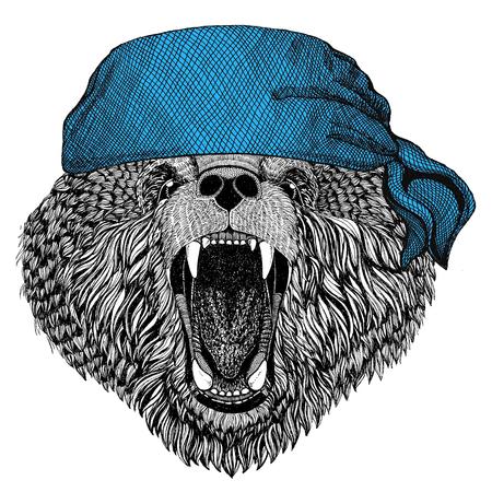 Brown bear Russian bear Wild animal wearing bandana or kerchief or bandanna Image for Pirate Seaman Sailor Biker Motorcycle