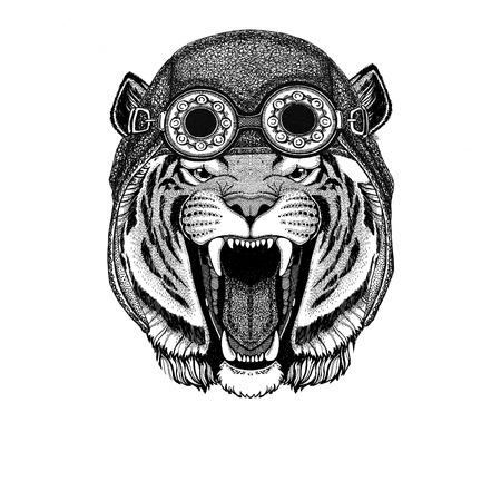 Tigre sauvage portant chapeau d'aviateur Chapeau de moto avec des lunettes pour biker Illustration pour t-shirt de moto ou d'aviateur avec animal sauvage Banque d'images - 82108420