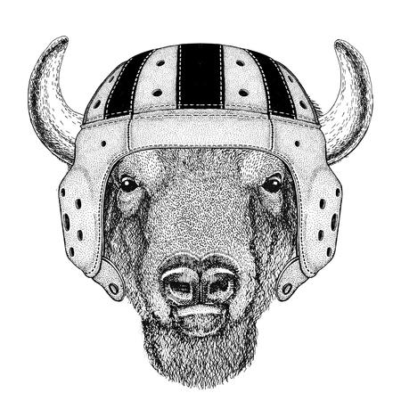 Buffalo, bison,ox, bull Wild animal wearing rugby helmet Sport illustration Illustration