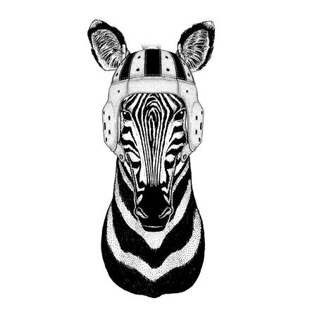 Zebra Horse Wild animal wearing rugby helmet Sport illustration