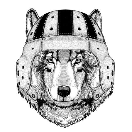Wolf Dog Wild animal wearing rugby helmet Sport illustration