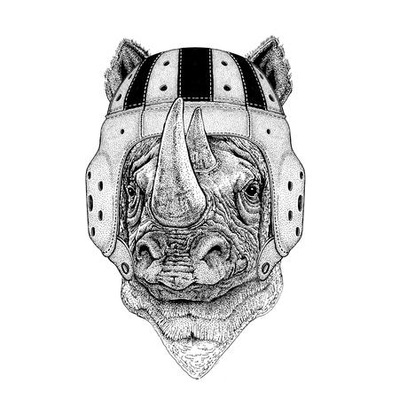 Rhinoceros, rhino Wild animal wearing rugby helmet Sport illustration