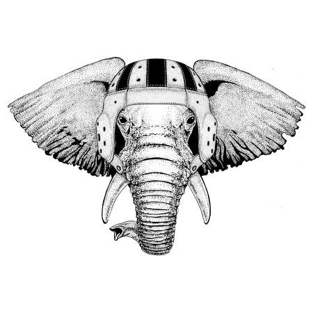아프리카 또는 인도 코끼리 야생 동물 입고 럭비 헬멧 스포츠 그림
