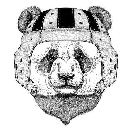 Panda bear, bamboo bear Wild animal wearing rugby helmet Sport illustration Illusztráció