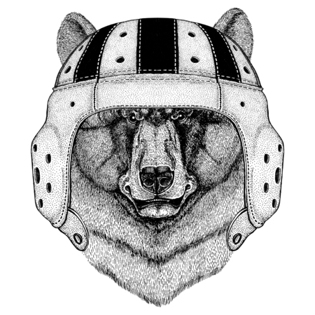 Black bear American bear Wild animal wearing rugby helmet Sport illustration