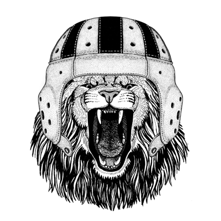 Lion Wild animal wearing rugby helmet Sport illustration 向量圖像