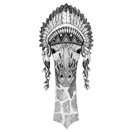 camelopard: Camelopard, giraffe Wild animal wearing indian hat Headdress with feathers Boho ethnic image Tribal illustration