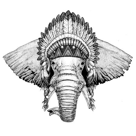 タトゥー、アフリカやインドの象の手描きイラスト e 写真素材