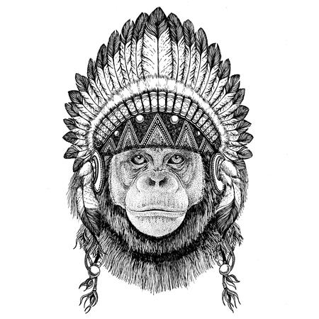 Chimpanzee Monkey Hand drawn illustration for tattoo, emblem, ba Banco de Imagens