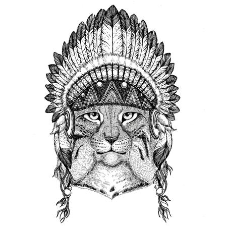 野生の猫のタトゥー、Lynx ボブキャット トロット手描きイラスト em