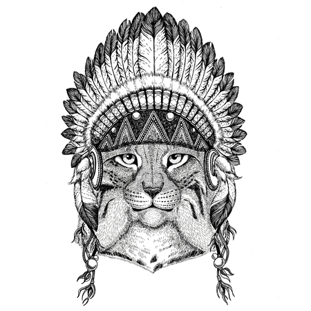 Wild cat Lynx Bobcat Trot Hand drawn illustration for tattoo, em