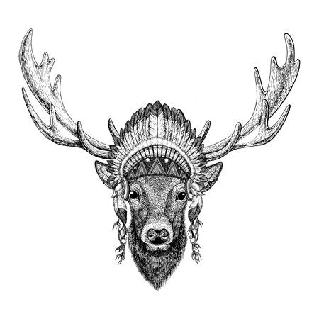 Deer Wild animal wearing indian hat Headdress with feathers Boho ethnic image Tribal illustraton