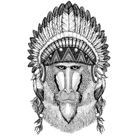 Monkey, baboon, dog-ape, ape Wild animal wearing indian hat Headdress with feathers Boho ethnic image Tribal illustraton