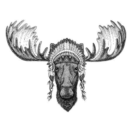 Moose, elk Wild animal wearing indian hat Headdress with feathers Boho ethnic image Tribal illustraton Stock Photo