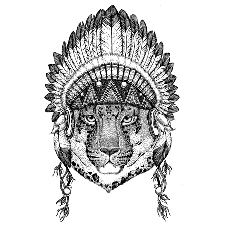 silueta de gato: Wild cat Leopard Cat-o-mountain Panther Wild animal wearing indian hat Headdress with feathers Boho ethnic image Tribal illustraton