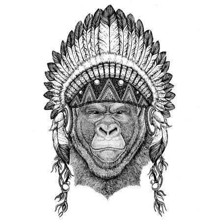 Gorilla, monkey, ape Frightful animal Wild animal wearing indian hat Headdress with feathers Boho ethnic image Tribal illustraton