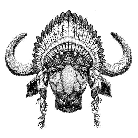 Buffalo, bull, ox Wild animal wearing indian hat Headdress with feathers Boho ethnic image Tribal illustraton
