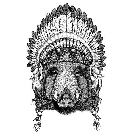 Aper, boar, hog, hog, wild boar Wild animal wearing indian hat Headdress with feathers Boho ethnic image Tribal illustraton