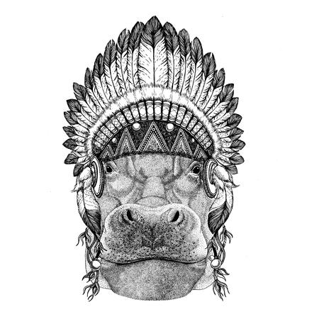 Hippo, Hippopotamus, behemoth, river-horse Wild animal wearing indian hat Headdress with feathers Boho ethnic image Tribal illustraton