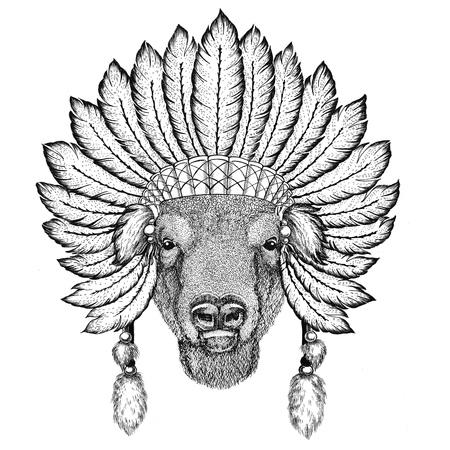 Buffalo, bison,ox, bull Wild animal wearing indiat hat with feathers Boho style vintage engraving illustration Image for tattoo, logo, badge, emblem, poster Reklamní fotografie