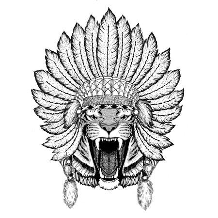 Wild tiger Wild animal wearing indiat hat with feathers Boho style vintage engraving illustration Image for tattoo, logo, badge, emblem, poster Stock fotó