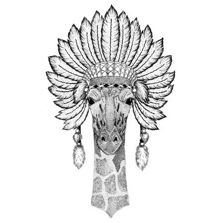 Camelopard, giraffe Wild animal wearing indiat hat with feathers Boho style vintage engraving illustration Image for tattoo, logo, badge, emblem, poster Reklamní fotografie