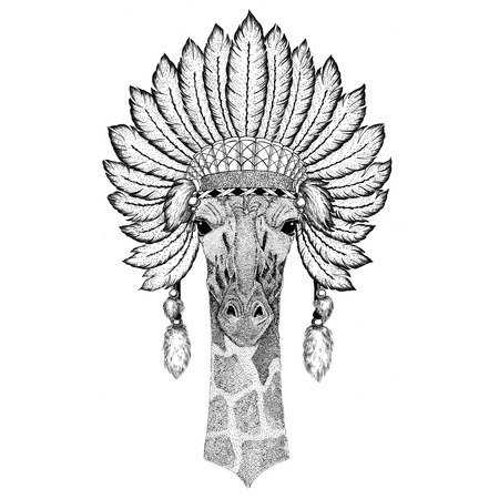 Camelopard, giraffe Wild animal wearing indiat hat with feathers Boho style vintage engraving illustration Image for tattoo, logo, badge, emblem, poster Stock Photo