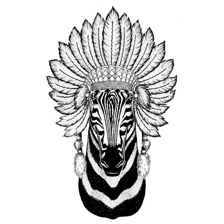 Zebra Horse Wild animal wearing indiat hat with feathers Boho style vintage engraving illustration Image for tattoo, logo, badge, emblem, poster