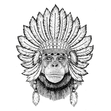 Chimpanzee Monkey Wild animal wearing indiat hat with feathers Boho style vintage engraving illustration Image for tattoo, logo, badge, emblem, poster Stock Photo
