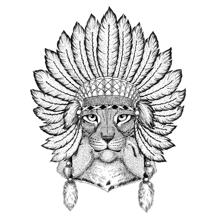 Wild cat Lynx Bobcat Trot Wild animal wearing indiat hat with feathers Boho style vintage engraving illustration Image for tattoo, logo, badge, emblem, poster Stock Photo