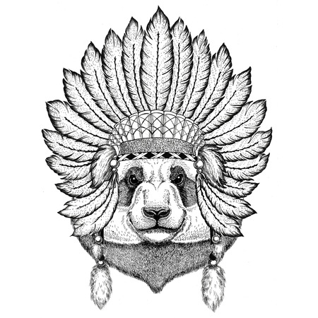 Panda bear, bamboo bear Wild animal wearing indiat hat with feathers Boho style vintage engraving illustration Image for tattoo, logo, badge, emblem, poster