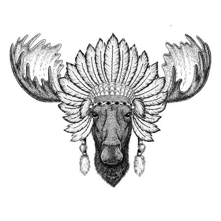 Moose, elk Wild animal wearing indiat hat with feathers Boho style vintage engraving illustration Image for tattoo, logo, badge, emblem, poster