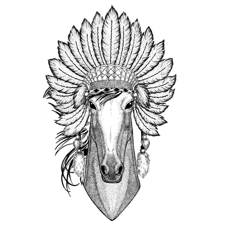 Horse, hoss, knight, steed, courser Wild animal wearing indiat hat with feathers Boho style vintage engraving illustration Image for tattoo, logo, badge, emblem, poster