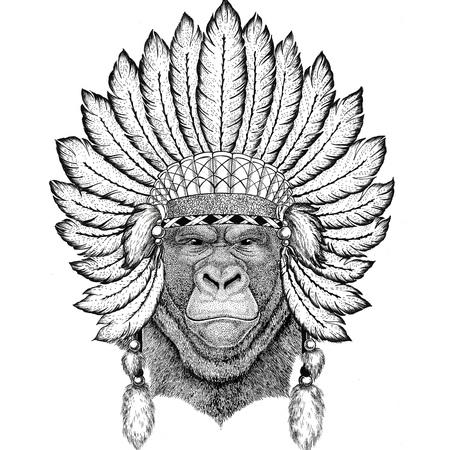 Gorilla, monkey, ape Frightful animal Wild animal wearing indiat hat with feathers Boho style vintage engraving illustration Image for tattoo, logo, badge, emblem, poster Reklamní fotografie