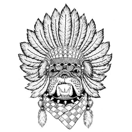 Bulldog Wild animal wearing indiat hat with feathers Boho style vintage engraving illustration Image for tattoo, logo, badge, emblem, poster Reklamní fotografie