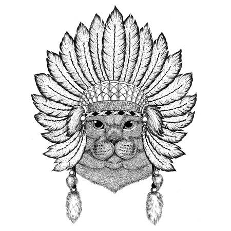 Brithish noble cat Male Wild animal wearing indiat hat with feathers Boho style vintage engraving illustration Image for tattoo, logo, badge, emblem, poster