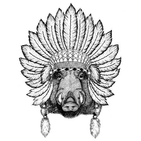 Aper, boar, hog, hog, wild boar Wild animal wearing indiat hat with feathers Boho style vintage engraving illustration Image for tattoo, logo, badge, emblem, poster