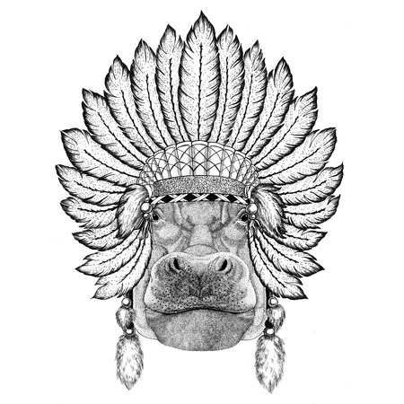Hippo, Hippopotamus, behemoth, river-horse Wild animal wearing indiat hat with feathers Boho style vintage engraving illustration Image for tattoo, logo, badge, emblem, poster