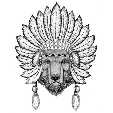 Brown bear Russian bear Wild animal wearing indiat hat with feathers Boho style vintage engraving illustration Image for tattoo, logo, badge, emblem, poster