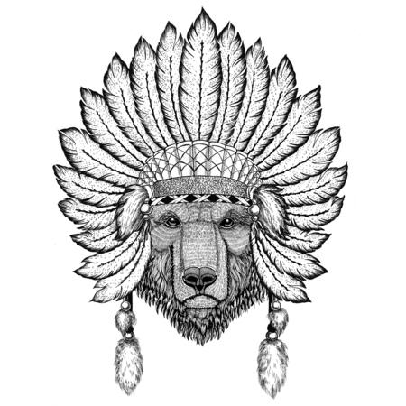 Bruine beer Russische beer Wilde dieren dragen indiat muts met veren Boho stijl vintage gravure illustratie Afbeelding voor tatoeage, logo, badge, embleem, poster Stockfoto