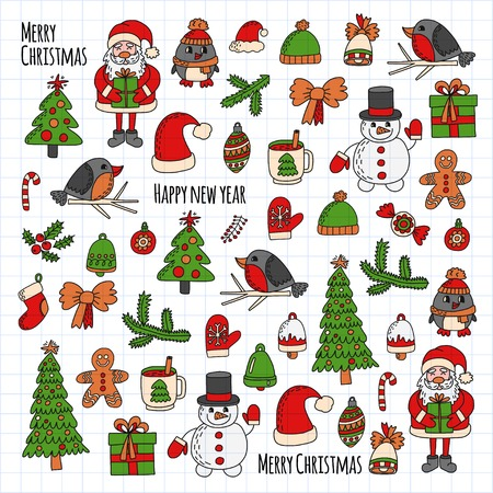 Christmas New year Santa Claus Doodle vector icons Presents Birds Christmas tree Candy Christmas bell Snowflake