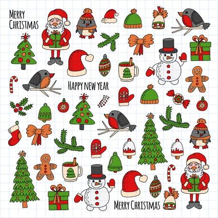 Weihnachten Silvester Santa Claus Doodle Vektor-Icons Präsentiert Vögel Weihnachtsbaum Candy Christmas Bell Schneeflocke Standard-Bild - 83591203