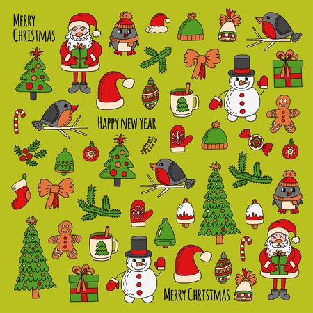 Kerstmis Nieuwjaar Kerstman Krabbel Vector iconen Presents Vogels Kerstboom Candy Christmas Bell Snowflake