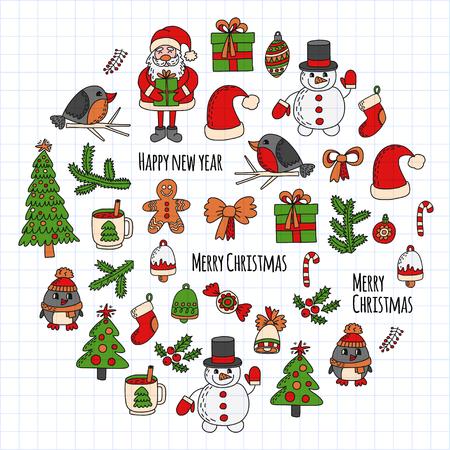 Weihnachten Neujahr Weihnachtsmann Gekritzel Vektor Symbole Geschenke Vögel Weihnachtsbaum Süßigkeiten Weihnachten Glocke Schneeflocke Standard-Bild - 83591213