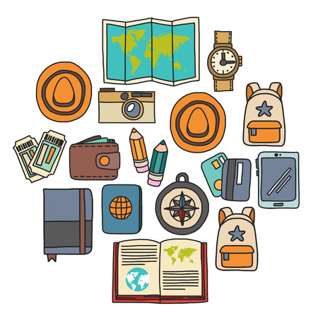 Vector doodle set with travel icons Adventure Explore Camera Passport Ticket Map Backpack Doodle pattern