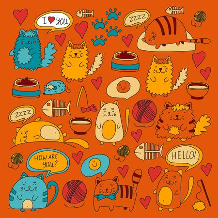 귀여운 낙서 고양이, 키티 국내 고양이 애완 동물 가게, 고양이, 수의학을위한 귀여운 새끼 고양이와 벡터 세트 배너, 포스터, 섬유 낙서 패턴 아이들이