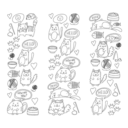 gray cat: Doodle pattern for banner, poster, textile and  kids drawing for preparatory level